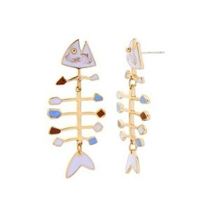 Jewelry - NWT Fish Bone Marbled Statement Dangle Earrings